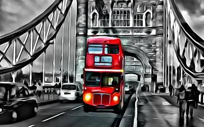 Bridge Painting - Vintage Double Decker In London by Florian Rodarte