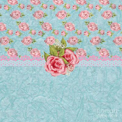 Flower Painting - Vintage Elegant Pink Roses Pattern by Debra  Miller