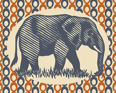 Orange Digital Art - Vintage Elephant Orange Gray by Flo Karp