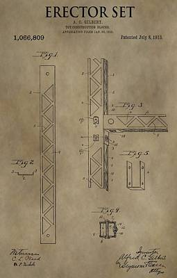 Vintage Erector Set Patent Print by Dan Sproul
