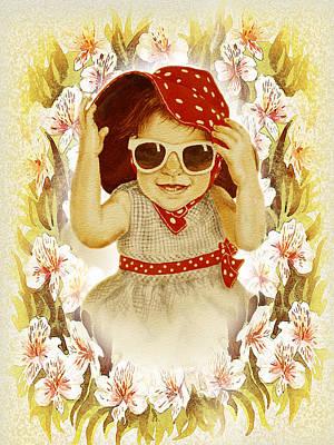 Red Hat Painting - Vintage Fashion Girl by Irina Sztukowski