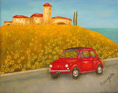 Italy Mediterranean Art Tuscany Painting - Vintage Fiat 500 by Pamela Allegretto