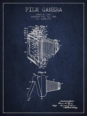 Film Camera Digital Art - Vintage Film Camera Patent From 1948 by Aged Pixel