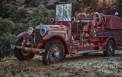 Ladder Photograph - Vintage Fire Truck by David Millenheft