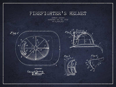 Fireman Drawing - Vintage Firefighter Helmet Patent Drawing From 1932 - Navy Blue by Aged Pixel