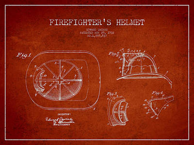 Fireman Drawing - Vintage Firefighter Helmet Patent Drawing From 1932-red by Aged Pixel