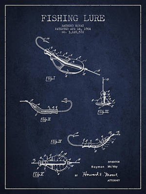 Vintage Fishing Lure Patent Drawing From 1964 Print by Aged Pixel