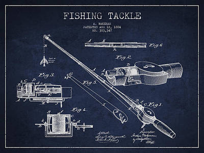 Vintage Fishing Tackle Patent Drawing From 1884 Print by Aged Pixel