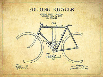 Bicycle Digital Art - Vintage Folding Bicycle Patent From 1898 - Vintage by Aged Pixel