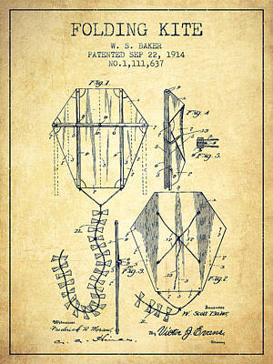 Kites Drawing - Vintage Folding Kite Patent From 1914 -vintage by Aged Pixel