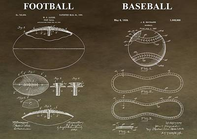 Sports Mixed Media - Vintage Football Baseball Patent by Dan Sproul