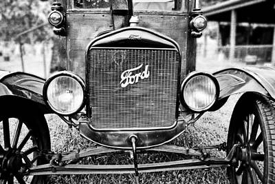 Vintage Ford In Black And White Print by Colleen Kammerer