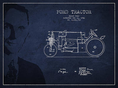 Vintage Ford Tractor Patent Drawing From 1941 Print by Aged Pixel