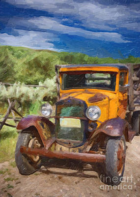 Vintage Ford Truck At Bannack Montana Print by Priscilla Burgers