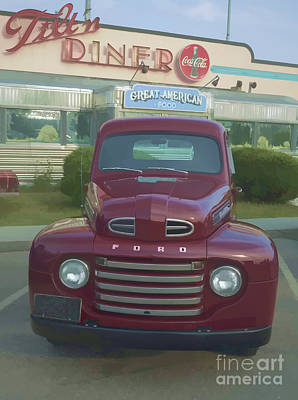 Headlight Photograph - Vintage Ford Truck Outside The Tiltn Diner by Edward Fielding