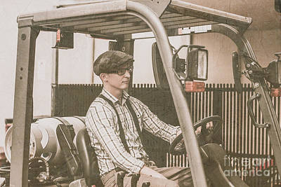 Vintage Forklift Driver Print by Jorgo Photography - Wall Art Gallery