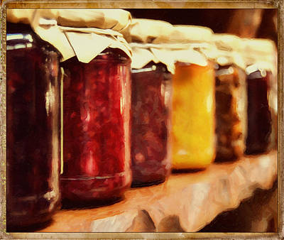 Vintage Fruit And Vegetable Preserves I Print by Georgiana Romanovna