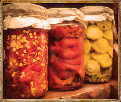 Pepper Mixed Media - Vintage Fruit And Vegetable Preserves IIi by Georgiana Romanovna