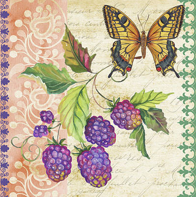 Vintage Fruit-raspberries Original by Jean Plout