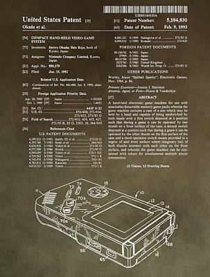 Vintage Video Game Mixed Media - Vintage Gameboy Patent by Dan Sproul