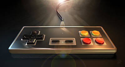 Childhood Digital Art - Vintage Gaming Controller by Allan Swart