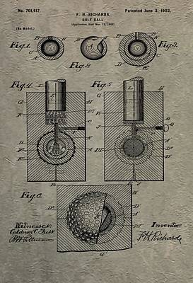 Vintage Golf Ball Patent Print by Dan Sproul