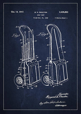 Golf Club Digital Art - Vintage Golf Cart Drawing From 1943 by Aged Pixel