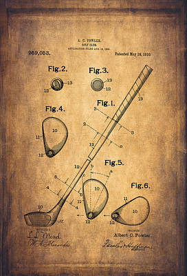 Vintage Golf Club Patent Drawing - 1909 Print by Maria Angelica Maira