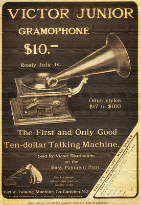 Vintage Gramophone Advertisement 1909 Print by Mountain Dreams