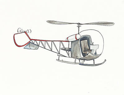 Vintage Gray Helicopter Original by Annie Laurie
