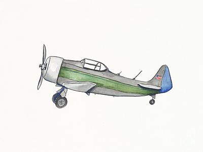 Vintage Green And Gray Airplane Original by Annie Laurie