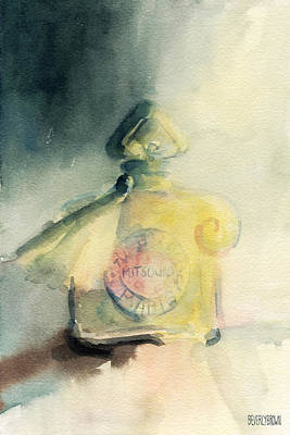 Watercolor Painting - Vintage Guerlain Mitsouko Perfume Bottle by Beverly Brown Prints