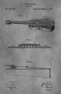 Chord Mixed Media - Vintage Guitar Patent by Dan Sproul