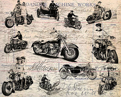 Vintage Harley Davidson Poster Print by Eti Reid