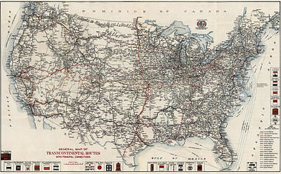 Antique Automobiles Drawing - Vintage Highway Map Of The United States By The American Automobile Association - 1918 by Blue Monocle