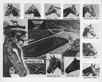 Paint Photograph - Vintage Horse Racing Head Shots Seattle Slew by Retro Images Archive