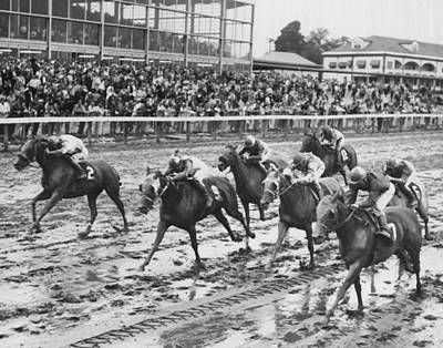Vintage Horse Racing Muddy Conditions Print by Retro Images Archive