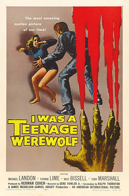 1957 Movies Drawing - Vintage I Was A Teenage Werewolf Movie Poster by Mountain Dreams