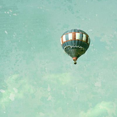 Vintage Inspired Hot Air Balloon In Red White And Blue Print by Brooke Ryan