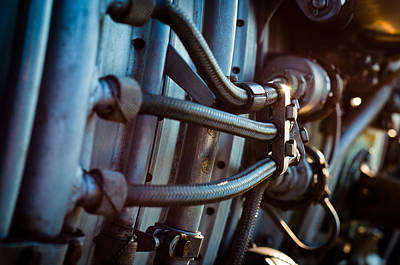 Vintage Jet Engine Part With Hoses Print by Oliver Sved