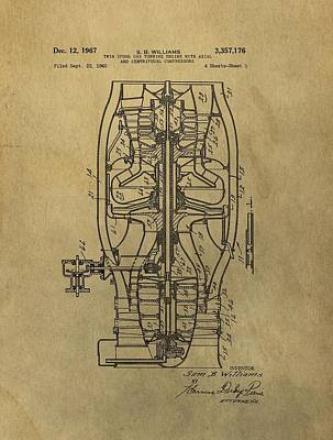 Jets Mixed Media - Vintage Jet Engine Patent by Dan Sproul