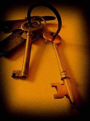 Retro Photograph - Vintage Keys Deep Antiqued Vignette by Lesa Fine