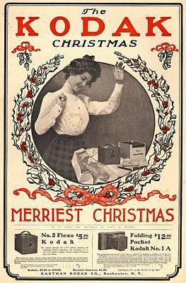 Wishes Photograph - Vintage Kodak Christmas Card by Edward Fielding