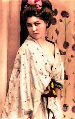 Retro Photograph - Vintage Lady In Kimono Peach by Lesa Fine