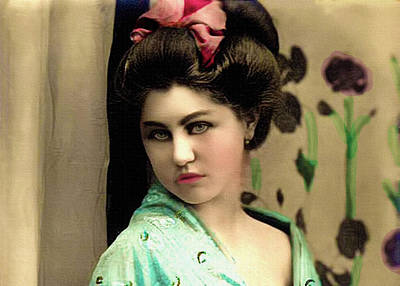 Retro Photograph - Vintage Lady In Kimono Portrait by Lesa Fine