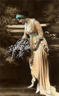 Retro Photograph - Vintage Lady V Lila Limited Sizes by Lesa Fine