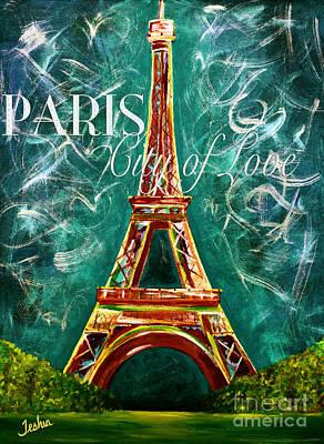 Vintage L'amour A Paris Moonlight Print by Teshia Art