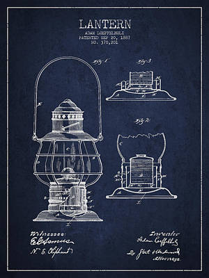 Oil Lamp Drawing - Vintage Lantern Patent Drawing From 1887 by Aged Pixel