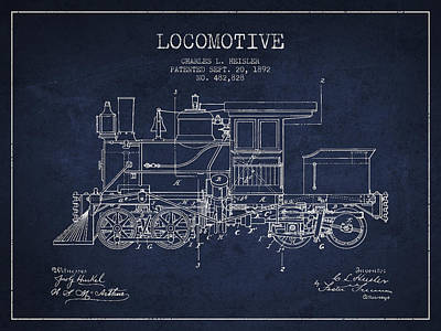 Train Drawing - Vintage Locomotive Patent From 1892 by Aged Pixel