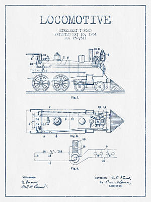 Train Drawing - Vintage Locomotive Patent From 1904  -  Blue Ink by Aged Pixel